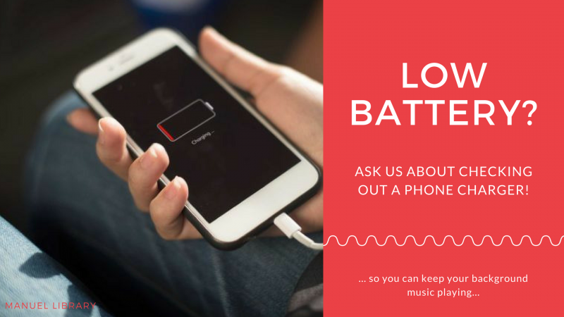 Low Battery? Ask about our phone chargers.
