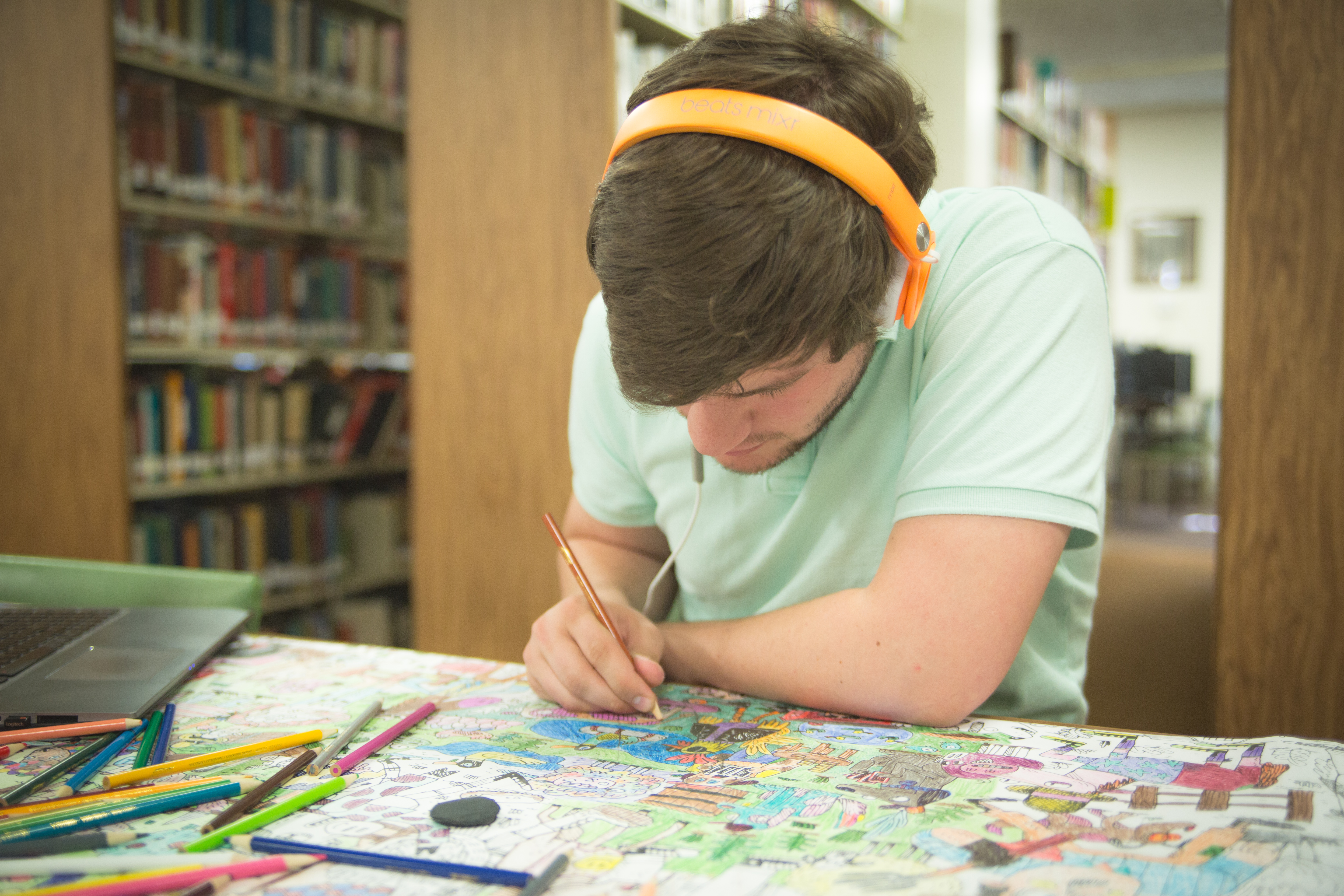 Person coloring in the Library